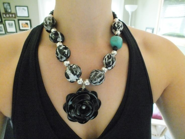 Chunky Painted Betel Nuts, Turquoise Howlite, sterling plated beads and Black Jasper (with metal flower pendant) #chunky #statement #necklace #flower #betelnut