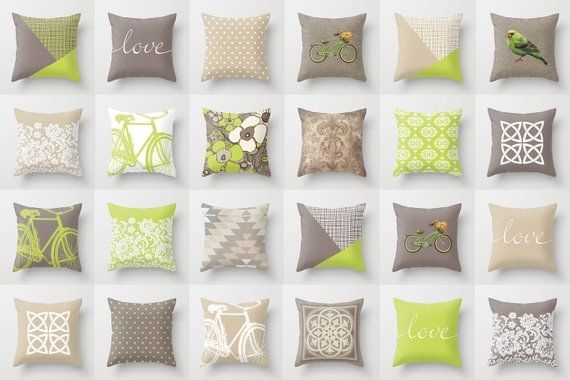 Beige And Green Throw Pillow Mix And Match Indoor Outdoor Cushion