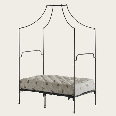 Chelsea Textiles -  Provence four poster bed single with metal frame Also available in double, queen and king size Treated wrought iron  Require assembly (posters can be removed and replaced with a set of included finials)  This image does not reflect real single bed proportions. Style number: PRO 170 Size: H89-44/W40/D80 in Size: H226-112/W102/D203 cm