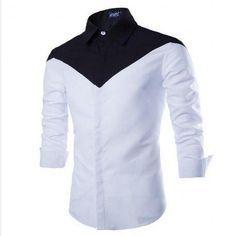 0ee77cb19e5b2 Camisa Social Masculina Preto e Branco Elegante Festa Manga Longa ...