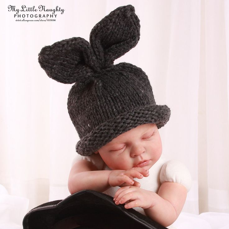 Фотографии реквизит фотостудии новорожденный вязания зимние детские шапки банни серый шапочки фотосессии аксессуары atrezzo сктв купить на AliExpress