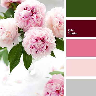 burgundy, cherry color, color of pink peonies, color of wine, dark green, delicate palette for wedding, delicate pink, gray, gray-pink color combination for weddings, green, light gray, palette for spring, pink, shades of pink, silver.