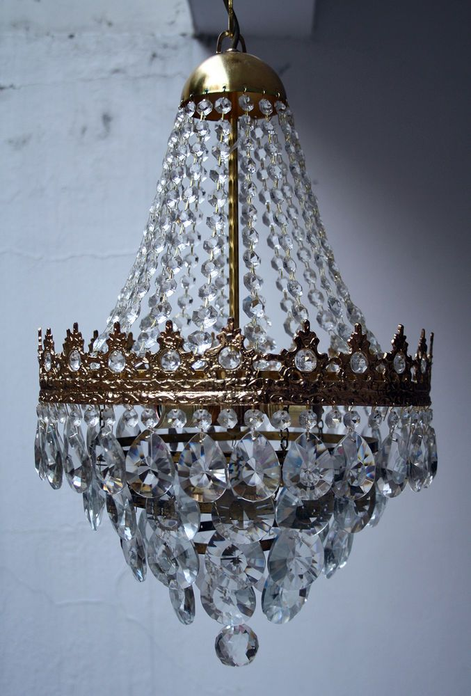 Antique French Basket Style Brass & Crystals Chandelier from 1950's |  Antiques, Architectural Antiques, - 26 Best Saarah Images On Pinterest Crystal Chandeliers, Antique