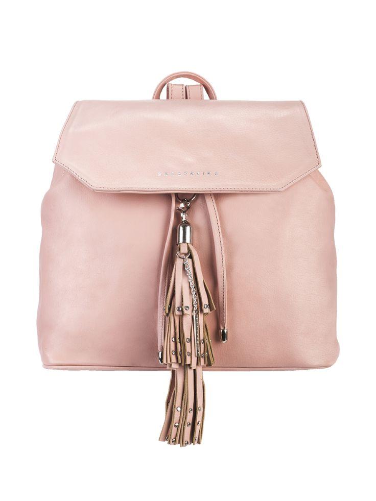 #Leather #backpack in #pastel pink with #studded #tassel. #SARAFREIKA #bag .......................................................................................................... #Bolsa tipo #mochila de #piel en color rosa pastel con #borlas y #tachuelas de metal.