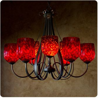 Wimberley Glassworks - 9-Bowl Sweeping Taper Chandelier w/Fire Red and Tortoise Straight Dome Shades - $3,699