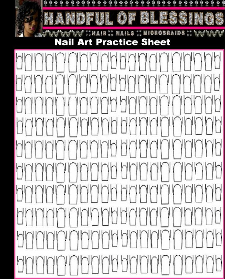 "A Handful of Blessings - Printable Nail Art Practice Sheet   *Left Click on Image and Click ""Save Image As"" use whatever program you choose to use to print it out.  *NOTE: You may have to resize it."