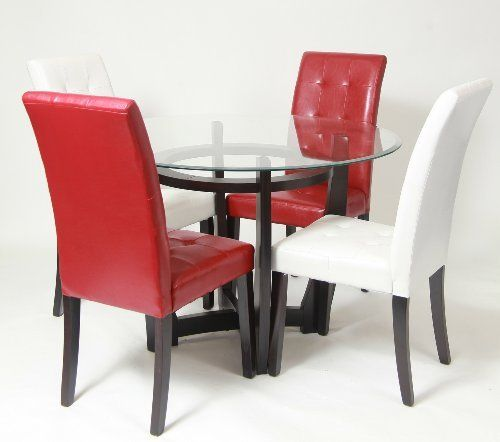 Beveled Glass Top Dining Table With 2 White Red Parson Chairs By FurnitureMaxx