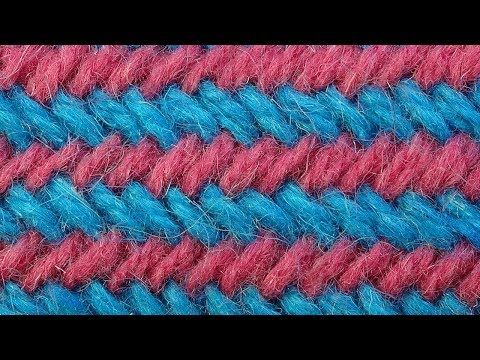 Уроки вязания спицами   Узор Рыбья кость по кругу 26 - YouTube