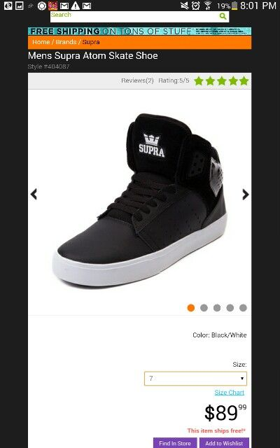 Supra Atom Skate Shoe $90
