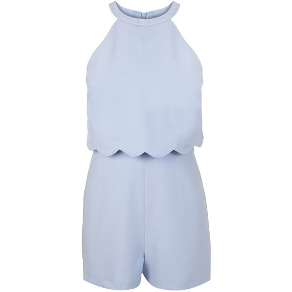 Miss Selfridge Petites Blue Scallop Playsuit ($46) ❤ liked on Polyvore featuring jumpsuits, rompers, dresses, playsuit, blue, petite, sale, playsuit romper, blue romper and blue rompers