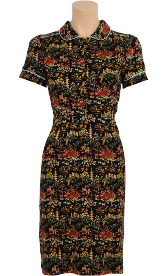 Vintage Inspired Autumn   ㊍   Kelly Dress Nara Asian Fantasy Pattern Black   ㊍   King Louie AW14