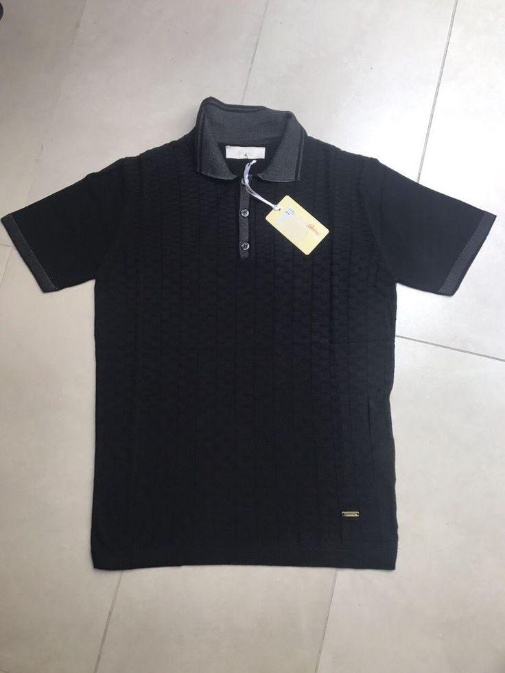 Men Brioni Polo Knitwear Short Sleeve Tshirt Grey Collar New color Black Size M #Brioni #MoistureManeger