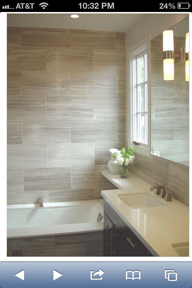 Porcelain Tiles Home Depot: Bathroom With 12 X 24 Tiles