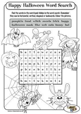 halloween word search - Halloween Printable Worksheets Free