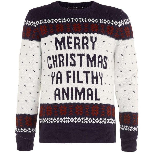 TOPMAN Navy Merry Christmas You Filthy Animal Jumper (30 BRL) ❤ liked on Polyvore featuring men's fashion, men's clothing, men's sweaters, men, mens jumpers, mens xmas jumpers, mens christmas sweaters, mens christmas jumpers and mens sweaters