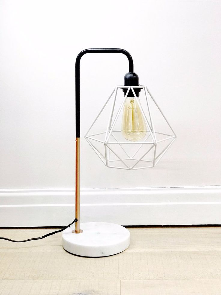 Marble Pipe Table Lamp Copper White