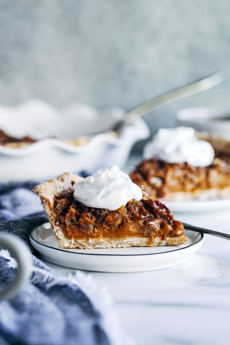 Vegan Sweet Potato Pecan Pie- layered with sweet potato filling on the bottom and a pecan pie top. You won't believe how easy it is to make! (vegan, refined sugar-free, + a gluten-free option)