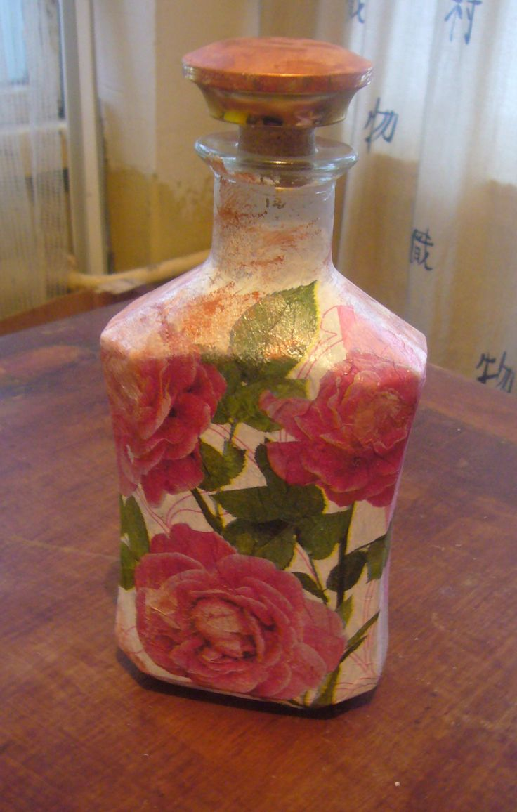 58 best images about decoupage ideas on pinterest for Diy bottles and jars