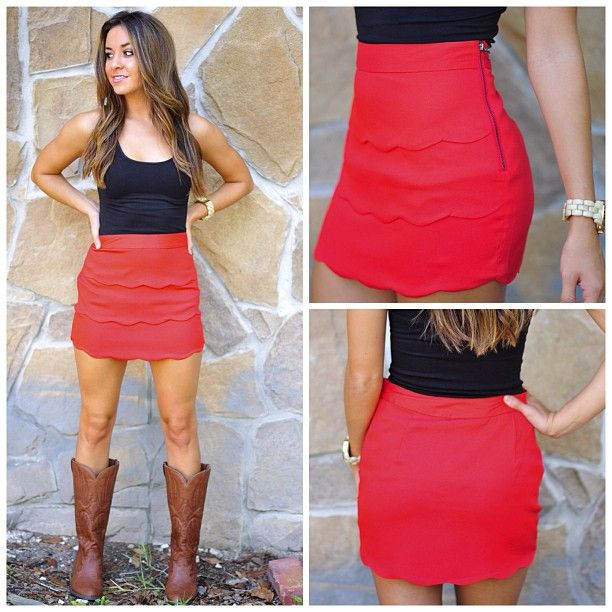 """Lovely In Layers Skirt: Bright Red-- This skirt couldn't be anymore perfect! Layers of scalloped fabric down the front with a zipper on the side. We are crazy about this skirt! 100% Polyester. Katheryn is 5'3 & wearing a Small. Length measurements: S-14"""", M-15"""", L-16"""". Only $34.99 at shophopes.com with FREE shipping! ❤ #newarrivals #shophopes #freeshipping"""