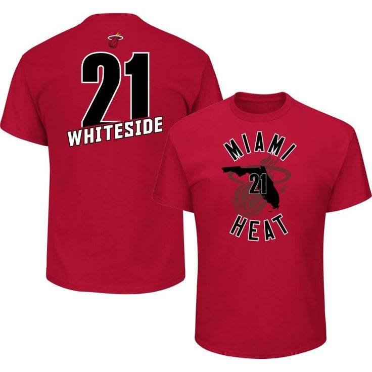 Majestic Men's Miami Heat Hassan Whiteside #21 Red T-Shirt, Size: Large, Team