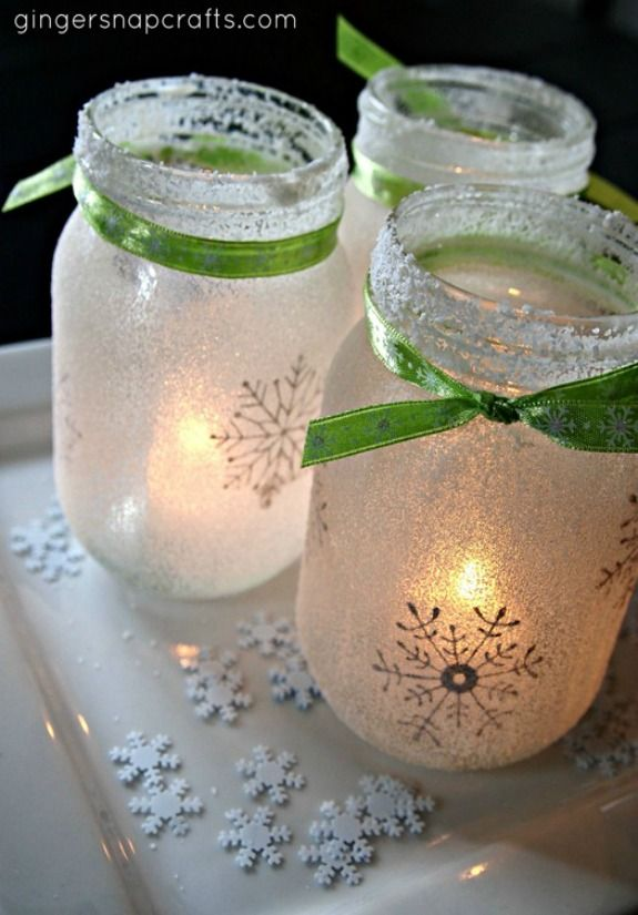 Mason Jar Lights for the Holidays | 100 Days of Homemade Holiday Inspiration on HoosierHomemade.com