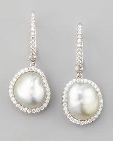 White South Sea Pearl & Diamond Framed Drop Earrings, White Gold