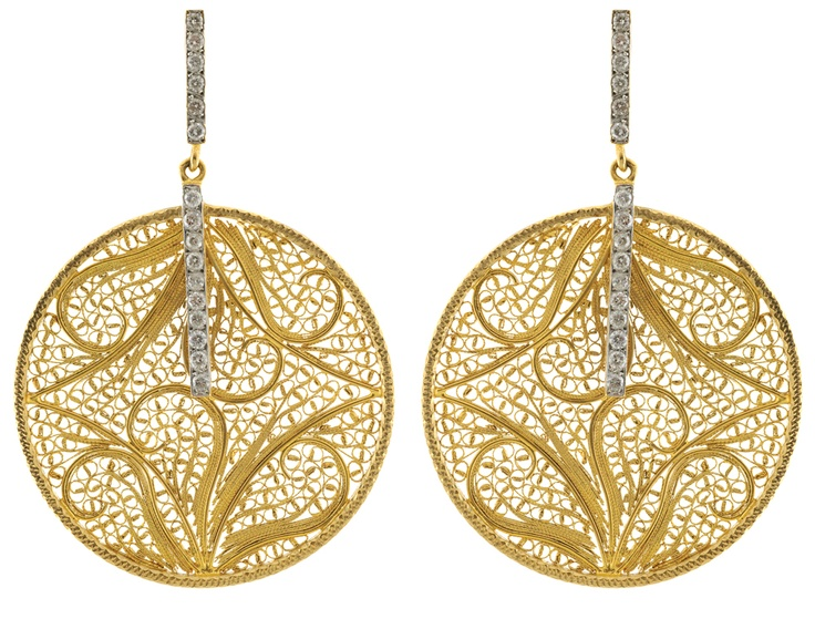 Eleuterio Jewels | Earrings in Yellow Gold, Filigree and Diamonds