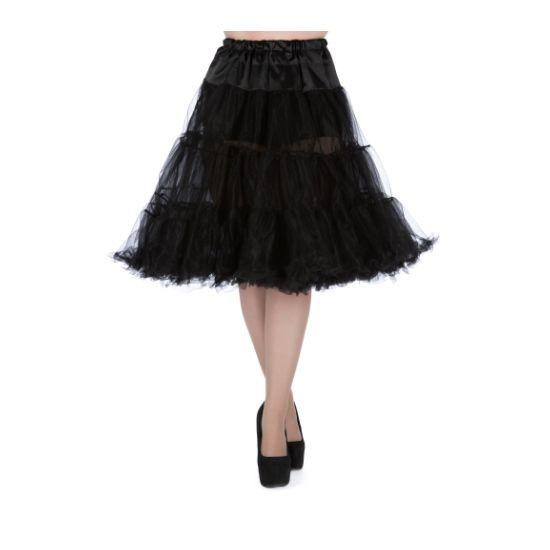 Collectif Spodnička Black Uni Spodnička ve stylu 50. let. Krásná tylová spodnička k šatům s kolovou sukní, dokonale pozvedne výraz šatů. Bohatý objem, 2 tylové vrstvy, 100% polyester, černá barva, velikost univerzální, regulace v pase. Vhodná pro kratší i delší typ šatů, lze upravit délku z cca 67 cm na 60 cm. Velikost univerzální (36 - 50).
