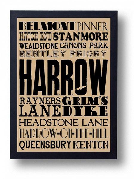 Harrow  Wealdstone Pinner Stanmore Hatch End by indieprints, $15.00