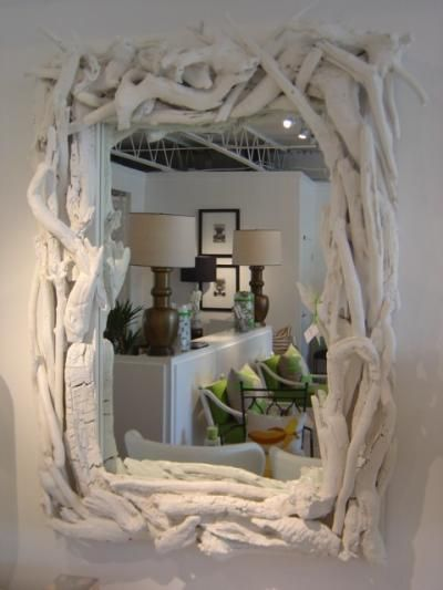 Handmade Painted Driftwood Mirror