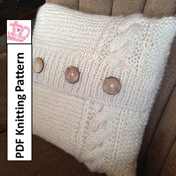 "Cable and Garter chunky knit 16"" x 16"" (40x40cm) pillow cover pattern by LadyshipDesigns. Click the photo to buy now!"