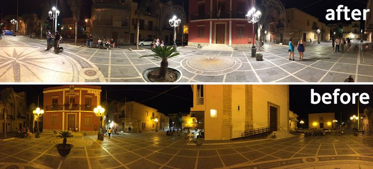 Before and After...a classic example of what can be achieved through public lighting renovation. By Gemmo SpA.