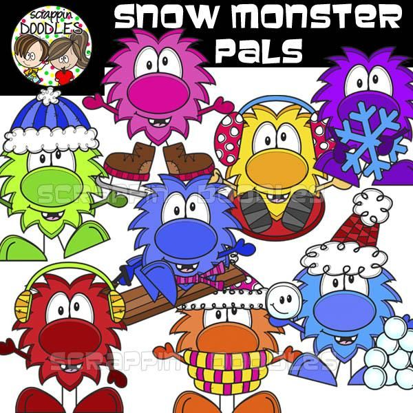 Snow Monster Pals - Bright and colorful Snow Monster Pals for adding a whimsical touch to your resources.  This is also part of my Whimsical Snow Bundle. If you purchased that bundle you already have this set.  All images come in PNG format and are crisp, clear and high quality.  Includes 16 images:  Snow Monster Pals 16 images (8 color and 8 bw)