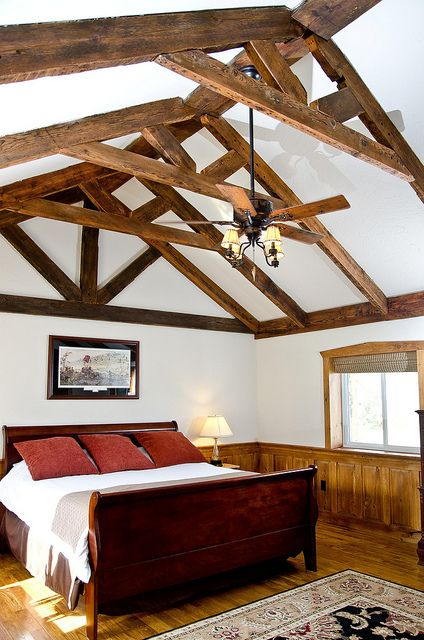 14 best vaulted ceilings images on pinterest cathedral for Vaulted ceiling with exposed beams