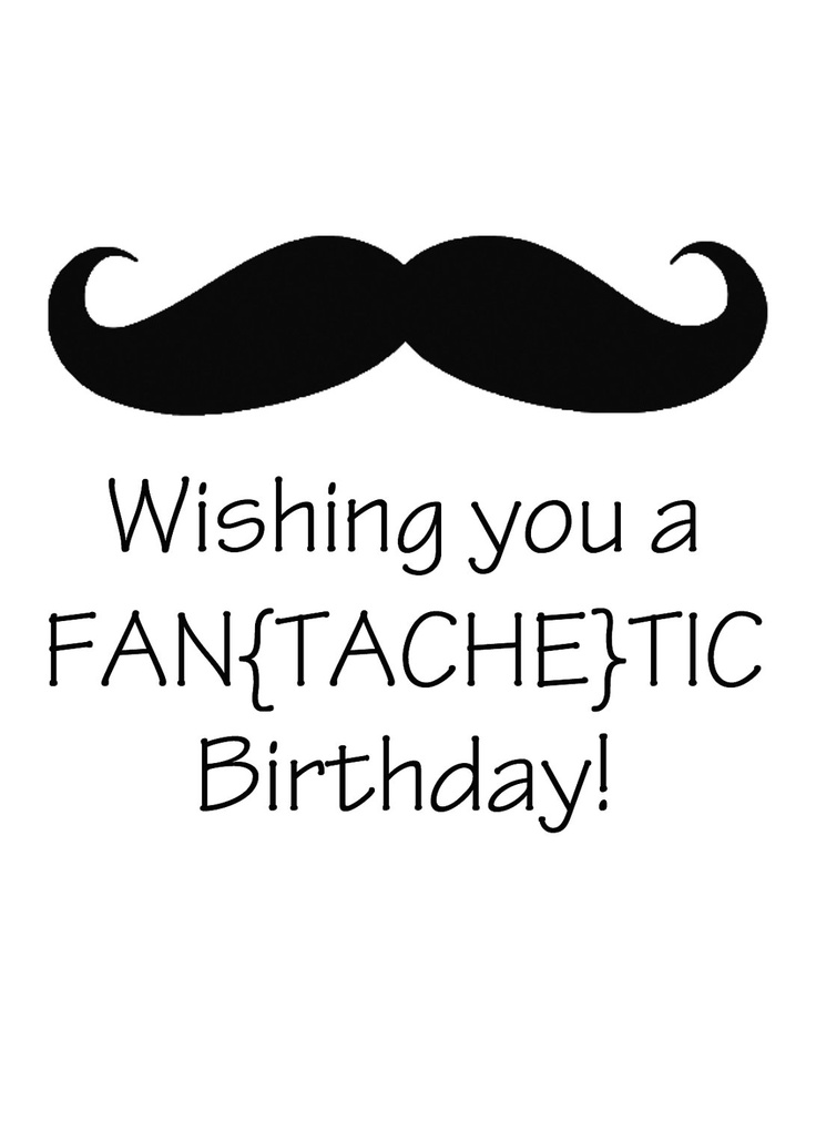 wishing you a fantachetic birthday. birthday card. kraft. mustache. beard. funny card. - $3.95