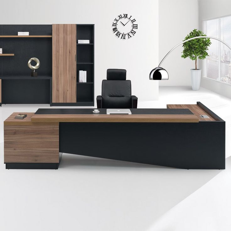 Fashion High end office system furniture l shape manager executive office desk with long cabinet