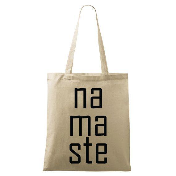 Namaste bag Yoga bag Eco-friendly printed Natural & by DrasiShop