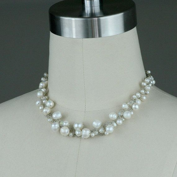 Chunky pearl crochet wiring collar necklace handmade on Etsy, $25.95