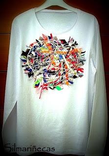 """Cómo hacer """"crazy Wool"""" y aplicarlo en una camiseta. How to do crazy wool, and to put it in a vest"""