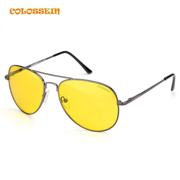 COLOSSEIN Sunglasses Men Pilot Yellow Night Vision Sunglass Oversized for Women Unisex Eyewear gafas de sol mujer
