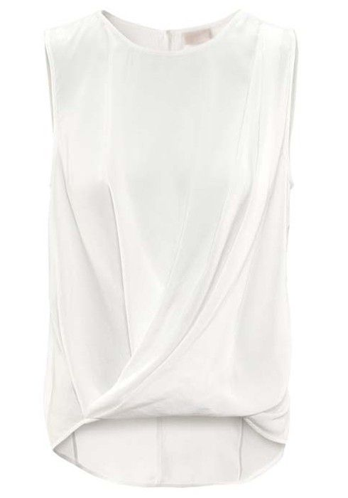 ++ White Ruffle Irregular Round Neck Sleeveless Chiffon Blouse ---> could be reinterpreted as a cool jersey T!