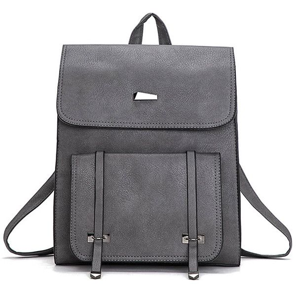 SheIn(sheinside) Pocket Front Square PU Satchel Backpack (1.245 RUB) ❤ liked on Polyvore featuring bags, backpacks, grey, pu backpack, satchel hand bags, backpack satchel bags, backpack bags and handbag satchel