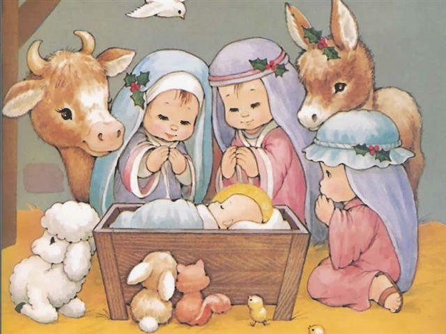 Unas postales de navidad infantiles para imprimir imágenes  que encarna a personajes tiernos e infantiles en los personajes de la virgen Mar...