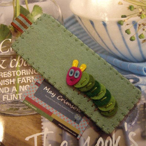 Caterpillar bookworm wool felt bookmark