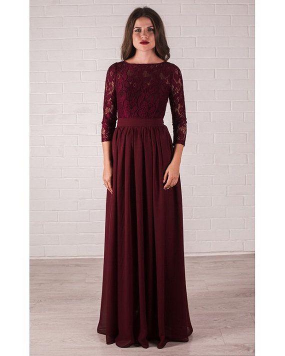 Marsala Dress Elegant Lace Evening Dress Formal Long by Dioriss