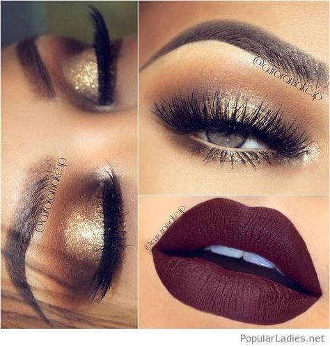 Gold Glitter Eye Makeup With Brown Matte Lips Eye Makeup