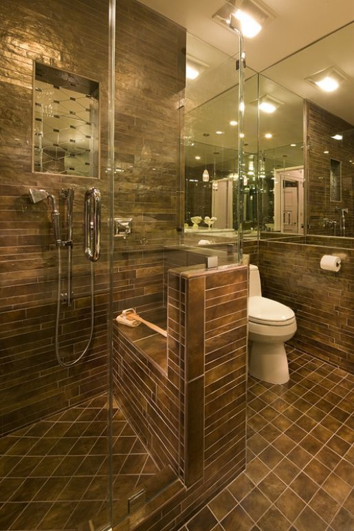 A built-in shower seat & dual shower heads mean safe showering -- with a sexy partner? This Bay Area bathroom is by interior designer Darlene Jurow. #KBTribeChat