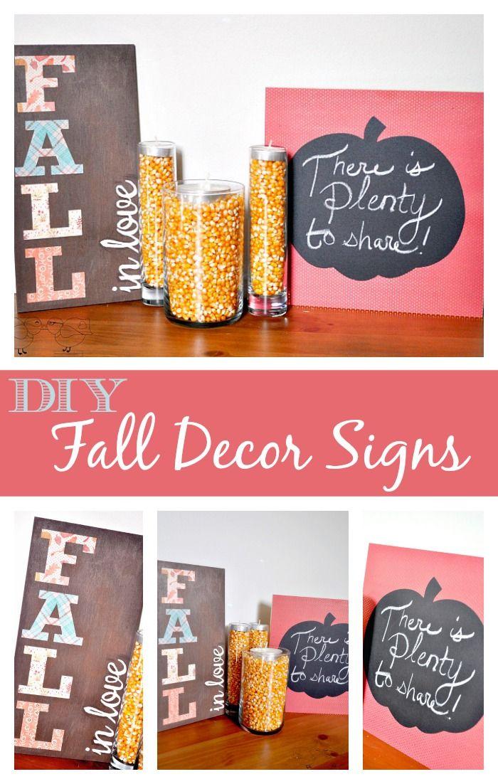 DIY Fall Decor Signs - Fall in Love and Chalkboard Pumpkin {The Love Nerds} #falldecor #crafts #diysigns #fallinlove
