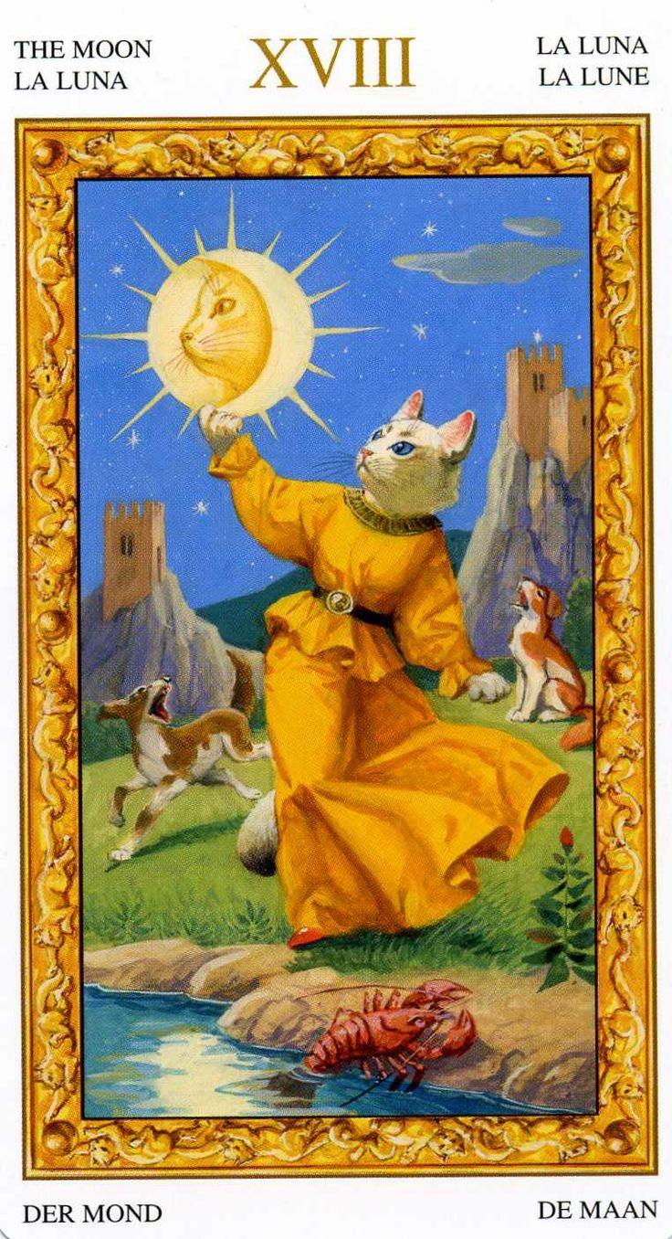 XVIII - La lune - Tarot chats blancs par Severino Baraldi