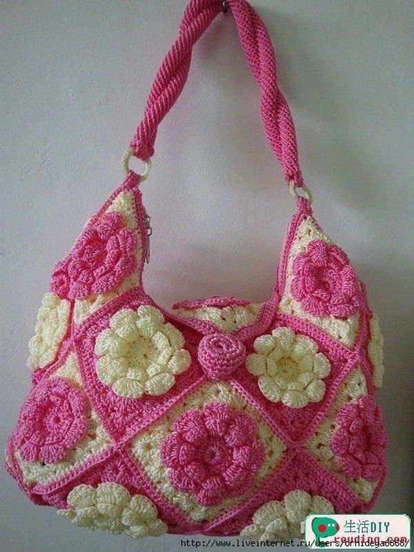 Bag with pink and white flowers, step by step images! - Hook Passion